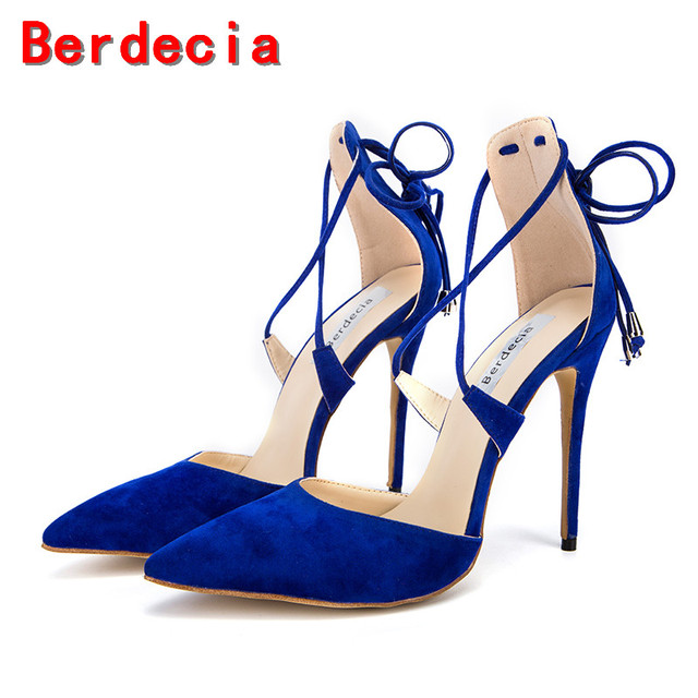 be3ad7626f5 Berdecia blue cross-tied ladies shoes sapatos bridal suede leather high  heel pumps gladiator sandals summer shoes woman size13