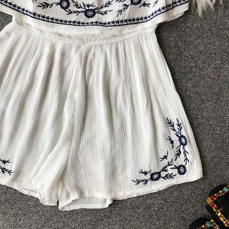 NiceMix Ruffles 2019 Off Shoulder Embroidery Jumpsuit Casual Sexy Women Bohemian Short Summer Playsuit Ethnic Beach Holiday Romp 4