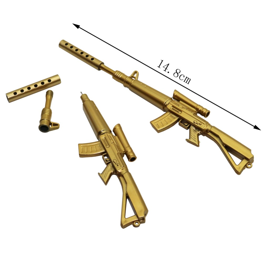 UK SOLD! Novelty Gun Shaped Pen Key Ring Rifle Golden School Stationery Gift