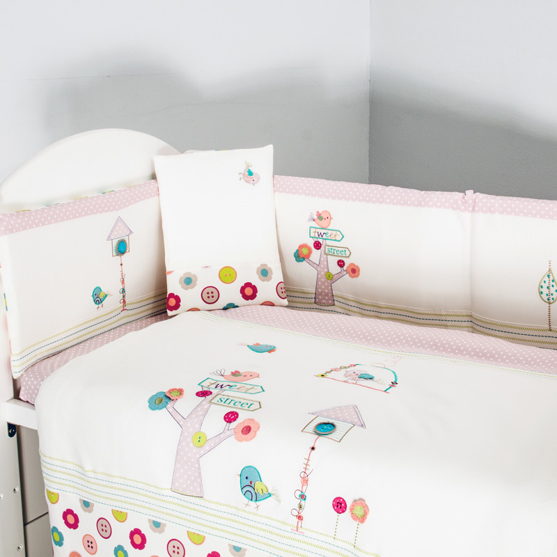 Fashion pink 100 cotton baby bedding set embroidery bird flowers fashion pink 100 cotton baby bedding set embroidery bird flowers crib bedding set quilt pillow bumper bed sheet 5 item in bedding sets from mother kids mightylinksfo