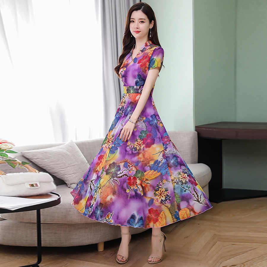 Летние винтажные Большие размеры пляжный длинный сарафан с принтом 2019 Новые цветочные шифоновые Boho Макси платья элегантные женские вечерние облегающие платья Vestido
