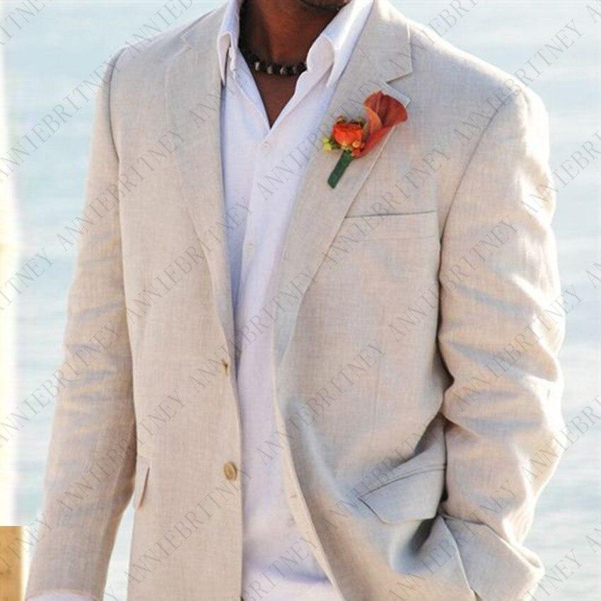 ANNIEBRITNEY Custom Made Beige Linen Beach Men Suits For Summer Bridegroom Tuxedos Masculino Casual Wedding Men Suit Set 2019