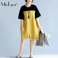 XL XXL XXXL Plus Size Women T Shirt Dress 2017 New Summer Loose Harajuku Vintage Denim