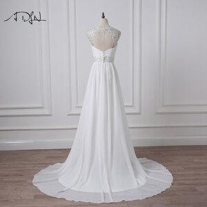 Image 2 - ADLN 2020 Strand Hochzeit Kleider V ausschnitt Böhmischen Chiffon Perlen Braut Kleid Nach Maß Brautkleider Vestidos de Novia