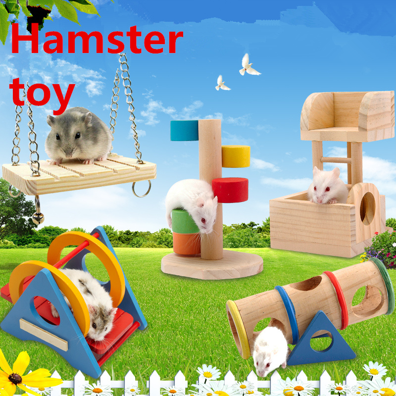 Hamster Seesaw Wood Toys Tube Tunnel Cage Wood House Rainbow Swing Small Animals Pets Play Toys For Rat Mouse Mice Hamsters