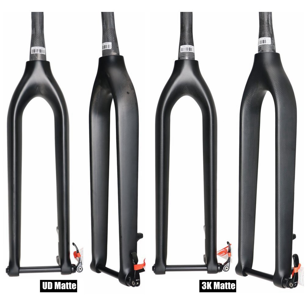 Matte 3K/UD Carbon Fiber Bicycle Fork 29 ER Mountain Bike Fork Tapered Top 1 1/8'', Down 1 1/2'' With Thru Axle Shafter 15mm lace see thru cloak top