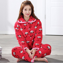 New Flannel Three Layer Lovely Panda Winter Thick Quilted Pajamas Women  Casual Cotton Tracksuit Long- f3fade759
