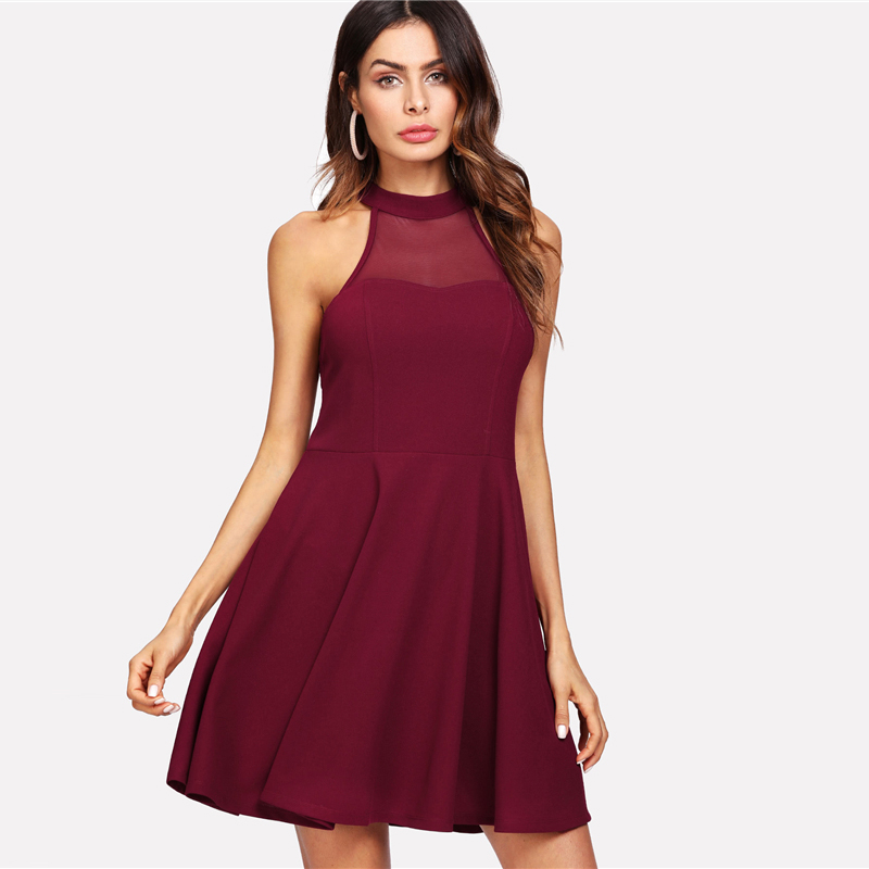 COLROVIE Burgundy Sexy Backless Mesh Sheer Halter Summer Dress 2018 High Waist A Line Women Dresses Fit And Flare Party Dress 8