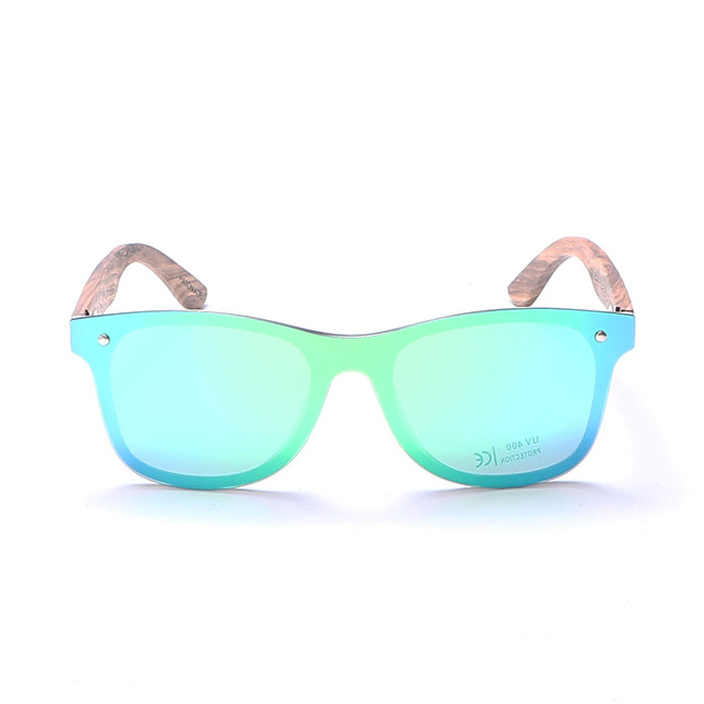 Wood bamboo Polarized Luxury rimless mirrored Square Sunglasses