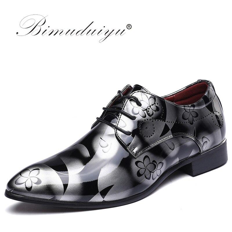 Bimuduiyu Элитный бренд Мужские деловые туфли с острым носком тень лакированные кожаные туфли модные жениха свадебные туфли Оксфорд Обувь 38-49