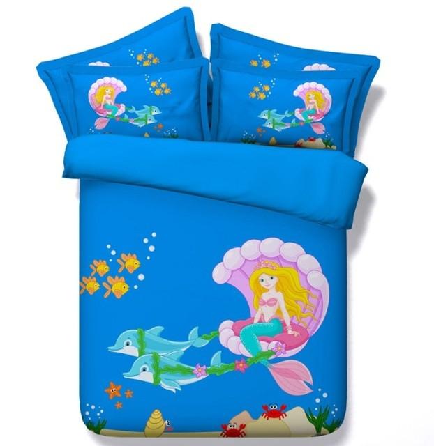 Mermaid Bedding 3d Comforter Sets Kids S Duvet Cover Set Bed In A Bag Sheets Sheet