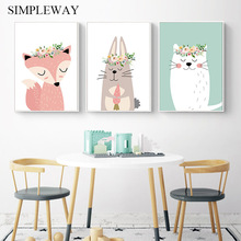 Baby Nursery Wall Art Canvas Poster and Print Fox Rabbit Cartoon Animal Painting Decorative Picture Nordic Kids Bedroom Decor цена