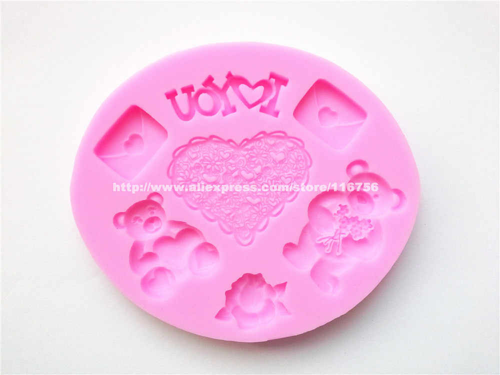 Gratis verzending hart & beer vormige silicone mold cake decoratie fondant cake 3d food grade silicone mould 024