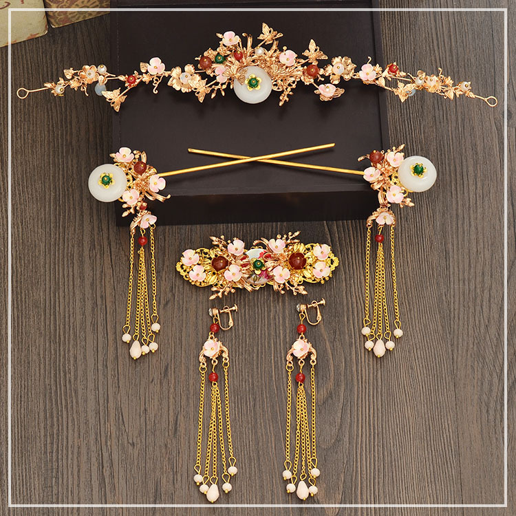 new Chinese claasical bride headdress costume retro hairpin long earrings orient bride wedding coronet hair accessories fascinator fashion bride headdress feathers dance show headdress covered the face veil party hat headdress hairpin headwear