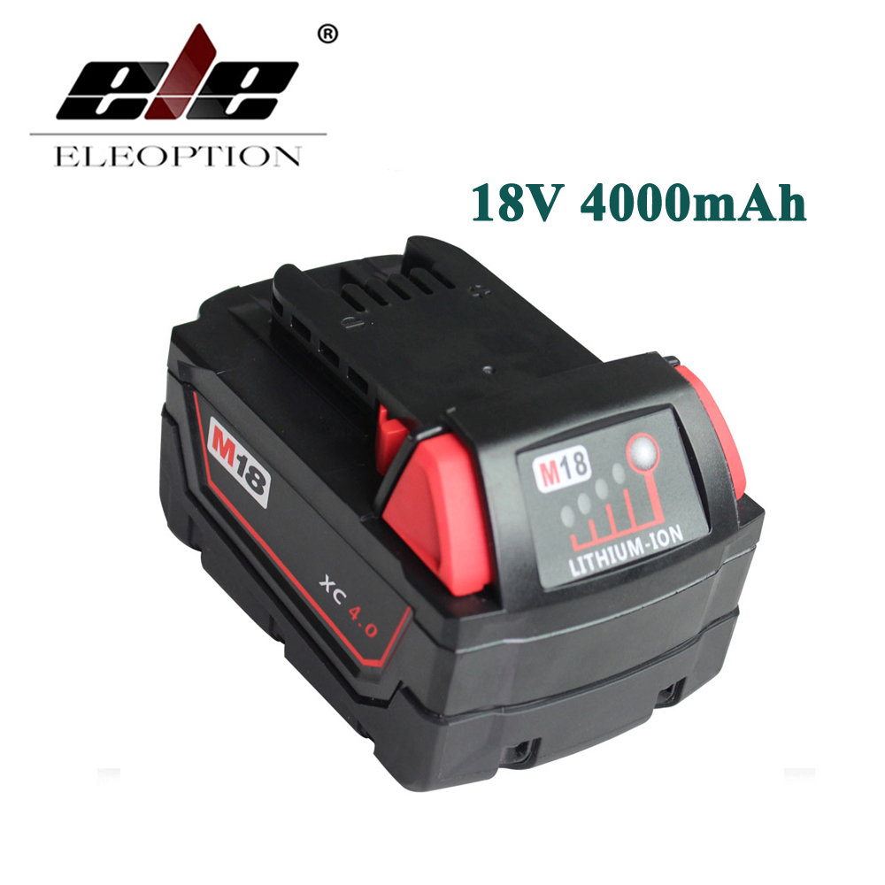 ELEOPTION New Li-Ion 18V 4.0AH 4000mAh Replacement Power Tool Battery for Milwaukee M18 XC 48-11-1815 M18B2 M18B4 M18BX Li18 replacement li ion battery charger power tools lithium ion battery charger for milwaukee m12 m18 electric screwdriver ac110 230v
