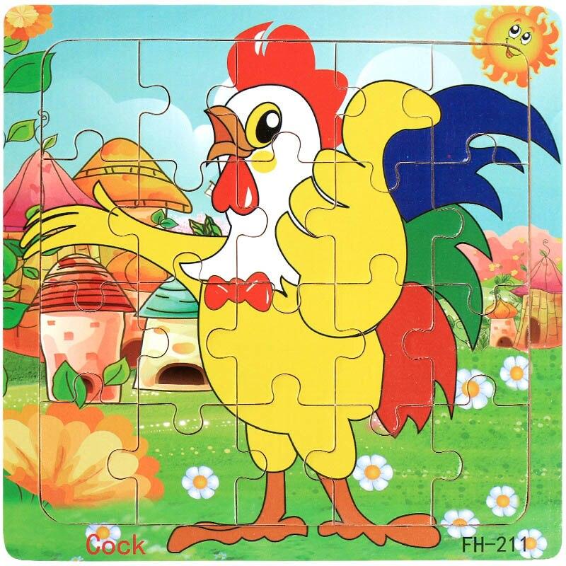 Деревянные пазлы игрушки 20 шт. дети радость Превосходное качество головоломки деревянные Мультяшные животные Развивающие головоломки игрушки для детей - Цвет: 18