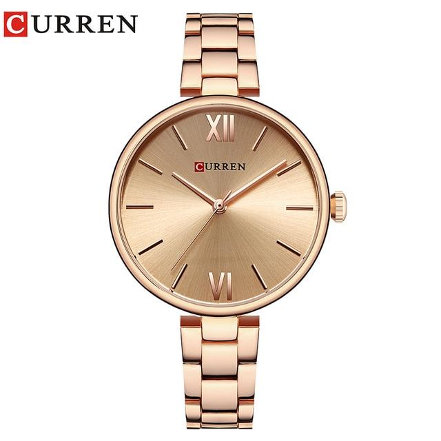 CURREN 9017 New Women Watches Luxury Brand Watch Rose Gold Women Quartz Clock Creative Wood Pattern Dial Fashion Wristwatch 1