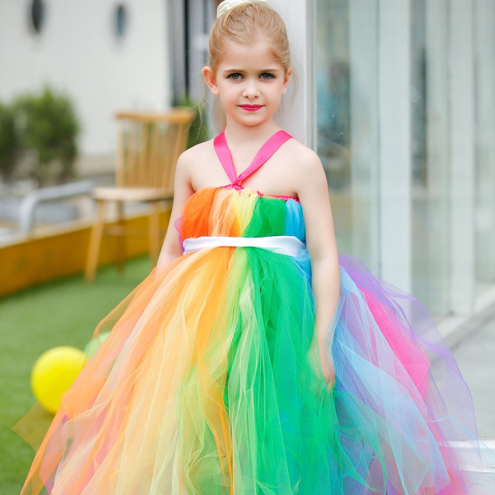 ФОТО Color mixed children's wedding dress girl classmates birthday party party dress custom hand long dress.