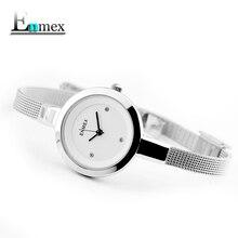 2018 подарок ENMEX Женщины из нержавеющей стали тонкий ремешок часы Gloden цвет Изящные молодая девушка элегантные модные Lady Часы Кварцевые