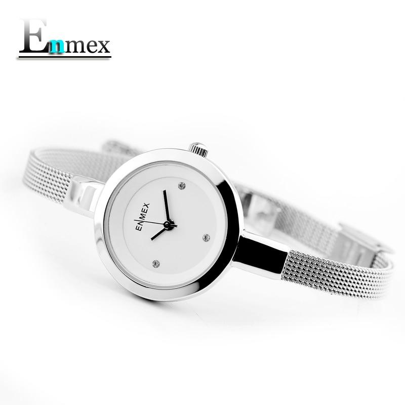 fceab3ae4 2018 presente Enmex mulheres aço inoxidável relógio de pulseira fina Gloden  cor gracioso jovem menina moda elegante relógios de quartzo senhora em  Mulheres ...