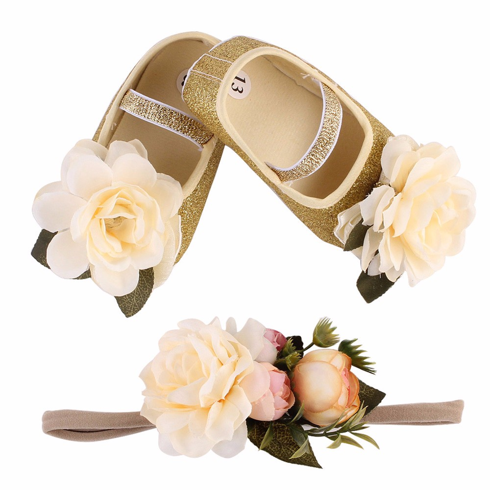 2018 New Baby Girl Flower Shoes Sneaker Anti-slip Hand Soft Toddler Shoes+1pc Hairband first walkers