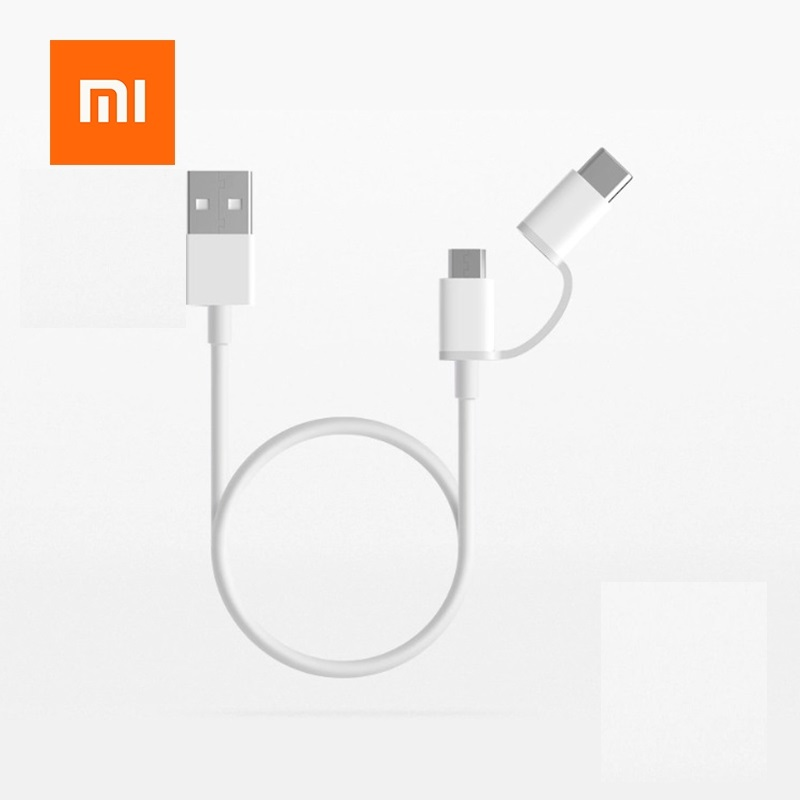 Original Xiaomi Cable 2 in 1 Micro USB Type-C Cable Sync Fast Quick Charger Data TypeC Charging Cable Type C&Micro USB