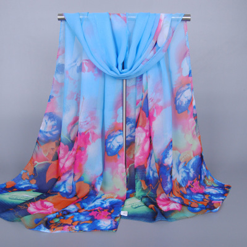 New Fashion Women Flower Chiffon   Scarf     Wrap   Ladies Shawl Floral Printed   Scarves   180*50cm