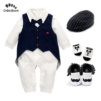 Baby birthday clothes suit for boys outfit 100% cotton rompers + vest Tuxedo + shoes +socks + hats 5pcs clothing sets wedding