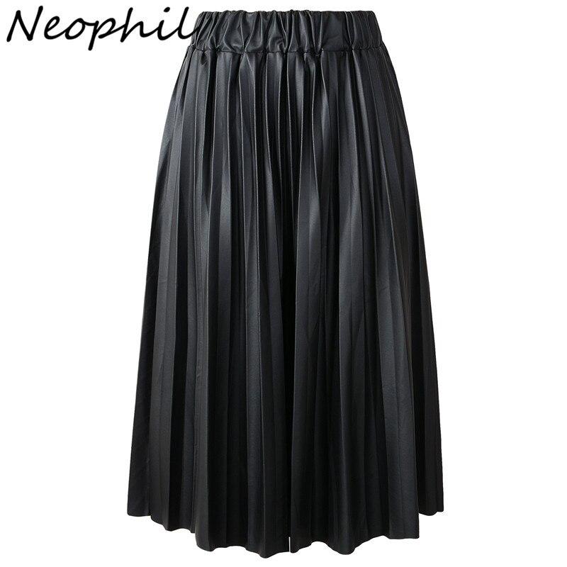 Neophil 2019 Winter Ladies Black PU Faux Leather Skirts Midi Pleated High Waist Vintage Basic Mid-calf Women Longa Saia S1927