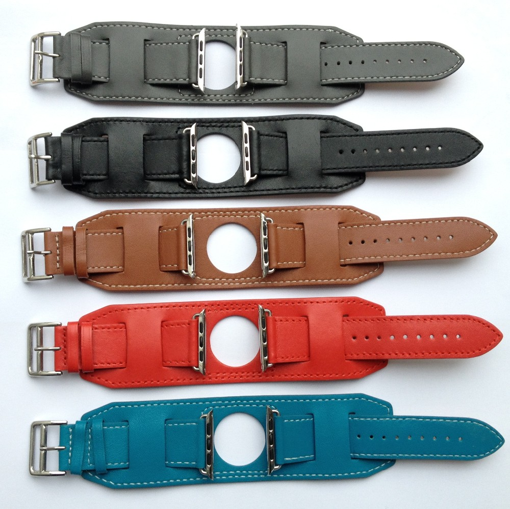 Goosuu New Arrival 1:1 Genuine Leather Watchband Cuff Bracelet Leather Band  Straps For Apple