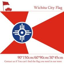 Free shipping Custom 100d Polyester 3x5ft Flying Flags 90*150cm 60*90cm Flag 30*45cm Car Flag Wichita City Flag Of Kansas State free shipping 90 150cm 60 90cm flag 100d custom polyester 3x5ft us santa barbara city flag of california state