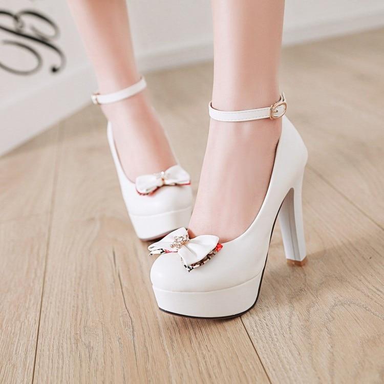 656e2637dc31 PXELENA Princess Ladies Dress Party Evening Dance Date Pumps Women Shoes  Thin High Heel Platform Fancy Bowknot White Pink Black