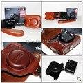 Leather Camera  Bag +Shoulder Strap for Canon  G15 G16 DSLR Case Shoulder Strap Black Brown