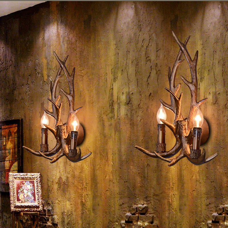 2018 Art Deco Retro Wall Lamp American Country Wall Light Resin Deer Horn Antler Lampshade Decoration Sconce Free shipping