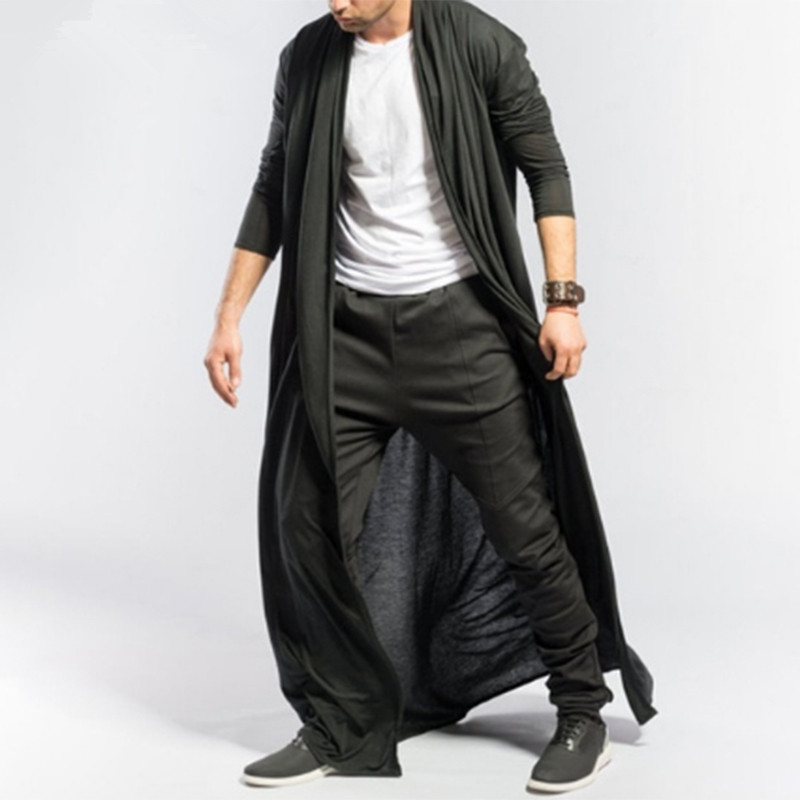 Gothic men long jacket Spring autumn slim Long trench coat mens Solid color thin Casual Windbreaker New Male Cardigan outerwear
