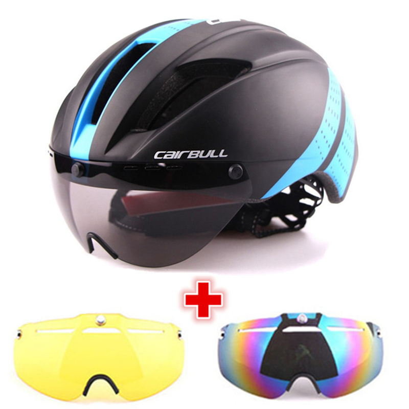 3 Lens Aero 280g Bicycle Helmet Magnetic Goggles Bike Sport Helmet Racing Speed Airo Time Trial
