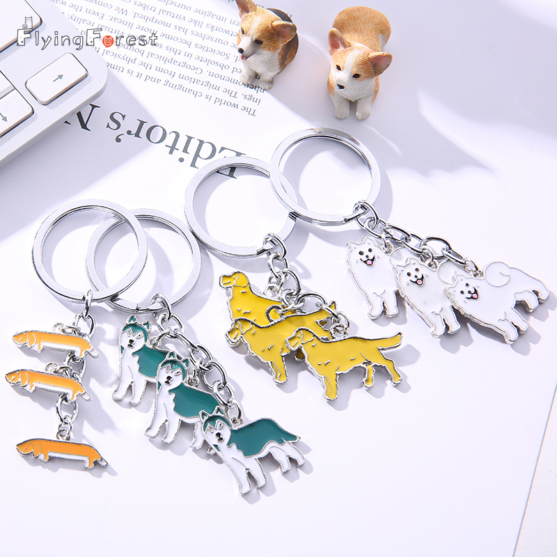 2019 llavero de perro de metal Dachshund Terrier Pug perro llavero llavero Pom regalo para mujer chica bolso encanto llavero colgante joyería