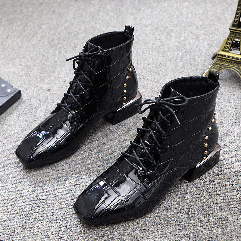 Studded Ankle Boots Women Black Sparkling Casual Square Toe Shoes Woman Rome Cool Winter Boots Out-doors Martin Botas Mujer 40 юбка cool woman square qz601 2015