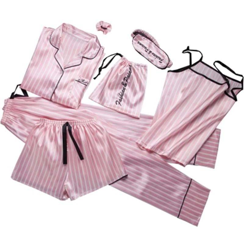 8 Pieces/Suit Pink Striped  Pajamas Set Satin Femme Pyjama Stitch Lingerie Robe Home Sleepwear Pjs 2019 Spring Top Fashion