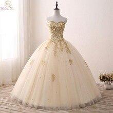זהב Quinceanera שמלות תחרת אפליקציות חרוזים כדור שמלה מתוק סטרפלס Vestidos דה 15 Anos Envio חנם Vestido דה פרינססה