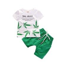 Green Leaf Brief Druck Jungen Clotheing Sets Für Baby Jungen Kleidung Anzüge 2019 Sommer T Shirt + Shorts 2Pcs sport Kinder Set