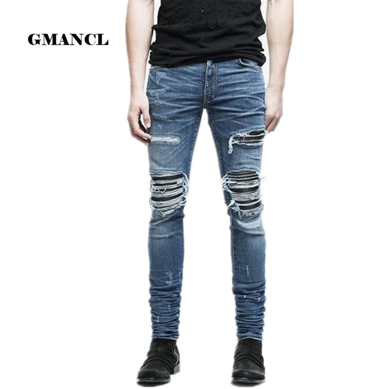 New Mens Denim Pants Clothing Zipper Skinny Biker Jeans Men Slim Fit Justin Bieber Jean Vintage Ripped Blue Denim Men Jeans Man