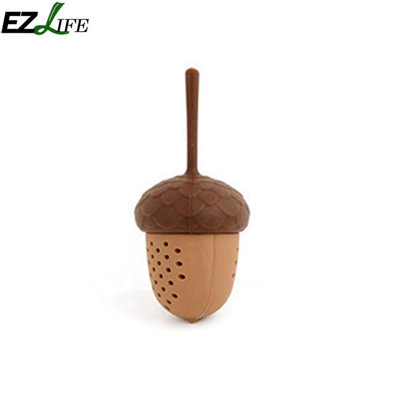 EZLIFE Silicone Tea Strainer Creative Mini Squirrel Acorn Shape Tea Leak Spice Herb Diffuser Tea Strainer Kitchen Tools CFA4981