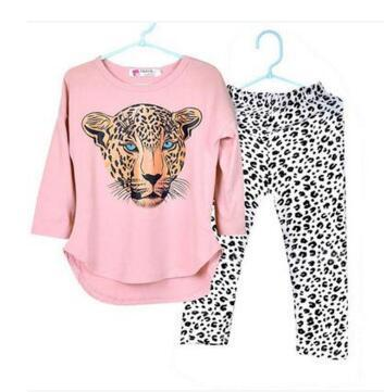 New girls clothing sets,full sleeve T shirt+legging 2pc set,3 color,baby clothing,kids clothes,leopard head style ,Free Shipping