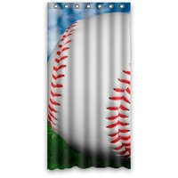 36w*72h inch Ball Soft Ball Baseball in Green Grass Design Waterproof Polyester Fabric Shower Curtain with Rings