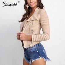 Simplee Faux leather suede outerwear & coats Short slim basic jackets female jacket coat women Winter 2016 autumn streetwear
