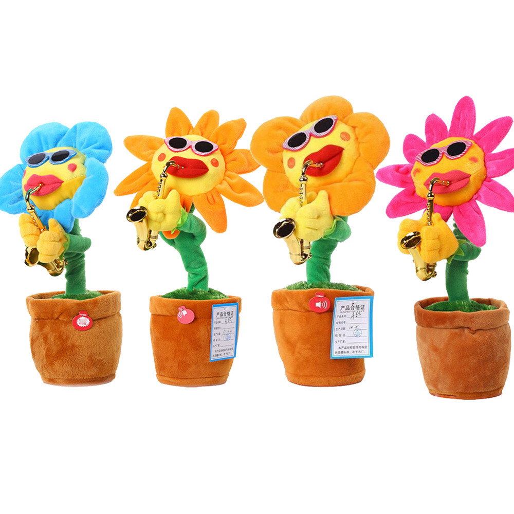 One Piece Electric 60 Songs Singing&Dancing Sunflow Plush Toys Creative Flower With Saxophone Music Decoration Funny Presents