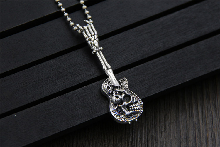 C&R Real 925 Sterling Silver Pendant Necklace Guitar Skull Pendant Personality Men Rock Style Thai Silver Fine Jewelry