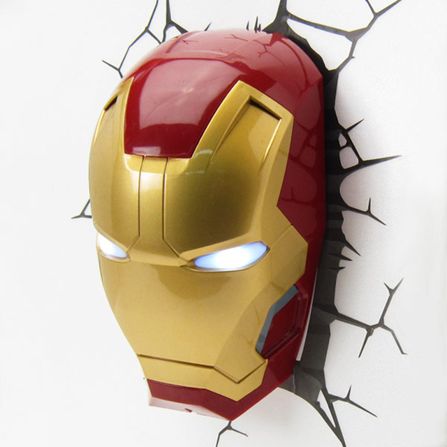 26cm Avengers Ironman Hulk Marvel Light Decor Lamp Art Mask Wall Sitcker Poster Lamps Armor Figure Bedroom