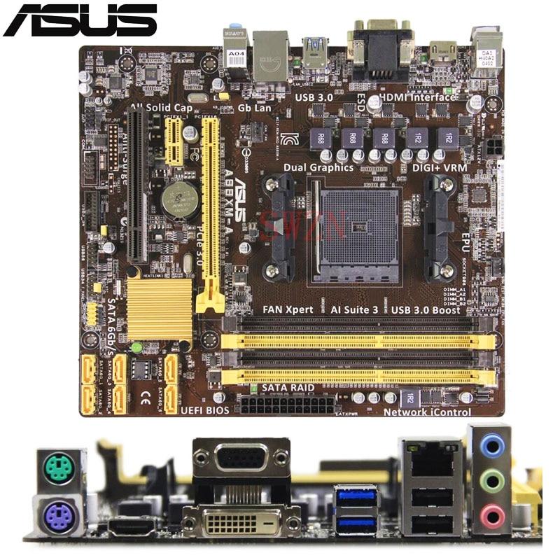 original Used Desktop motherboard For ASUS A88XM-A A88 support Socket FM2/FM2+ 4*DDR3 support 32G 6*SATA3 USB2.0 Micro ATX asus m4a78 vm desktop motherboard 780g socket am2 ddr2 sata2 usb2 0 uatx second hand high quality